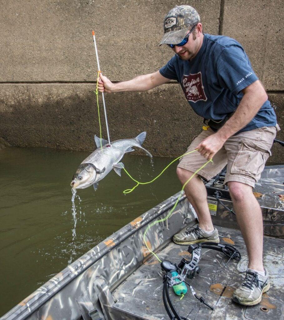bowfisherman sticks a carp
