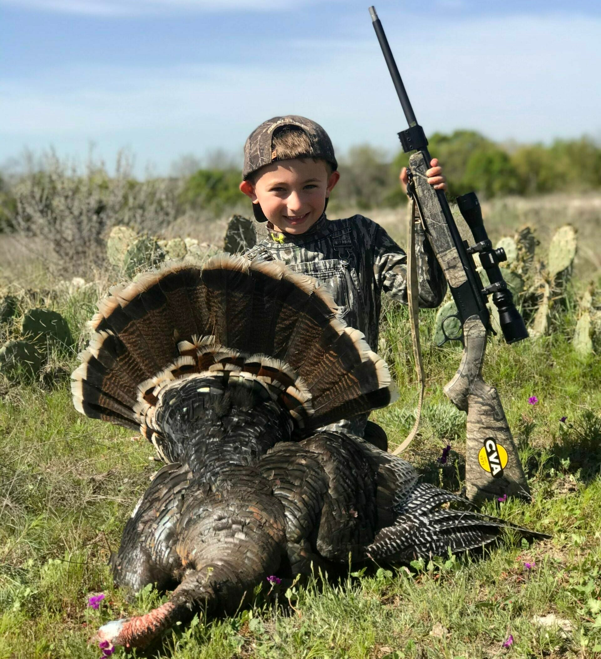 youth hunter shoots his first wild turkey