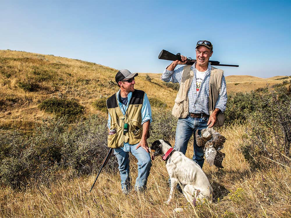 grouse hunters sharing laugh