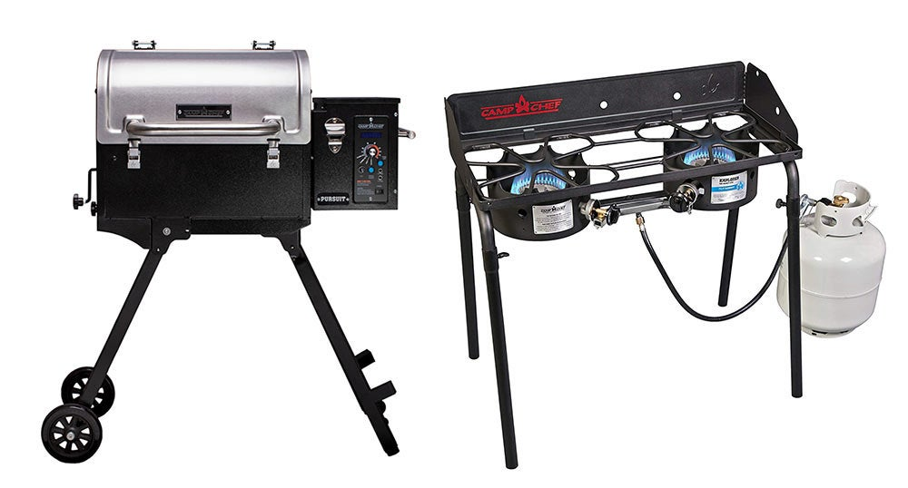 camp chef pellet grill and burner stove