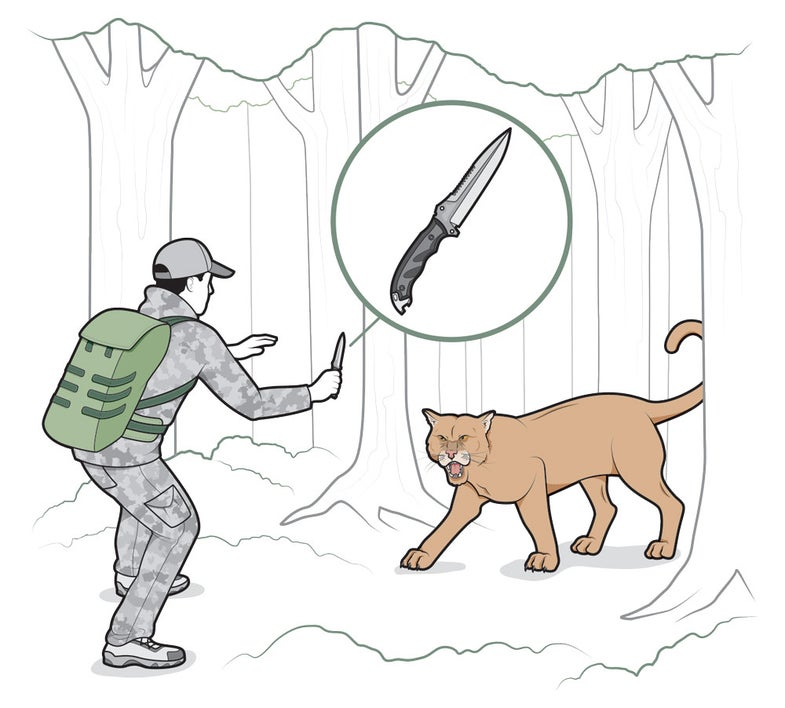 how to fend off a wild animal with a knife