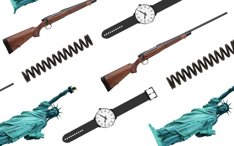image collage of guns springs watches and statue of liberty