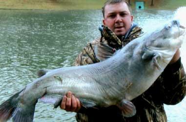 Jason Blackwell hauled in this 40-pound blue catfish while fishing near Houston, Texas.