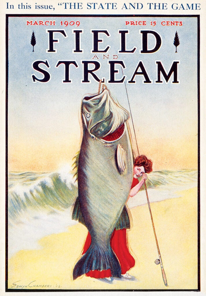 cover, vintage, F&S, big fish, woman
