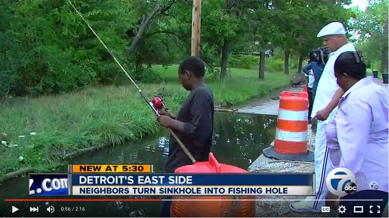 Detroit Residents Turn Sinkhole Into Fishing Hole