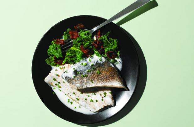 Buttermilk Poached Trout with Bacon-Spiked Greens