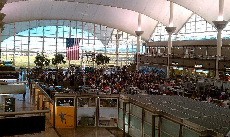 security, denver airport, tsa, waiting in line