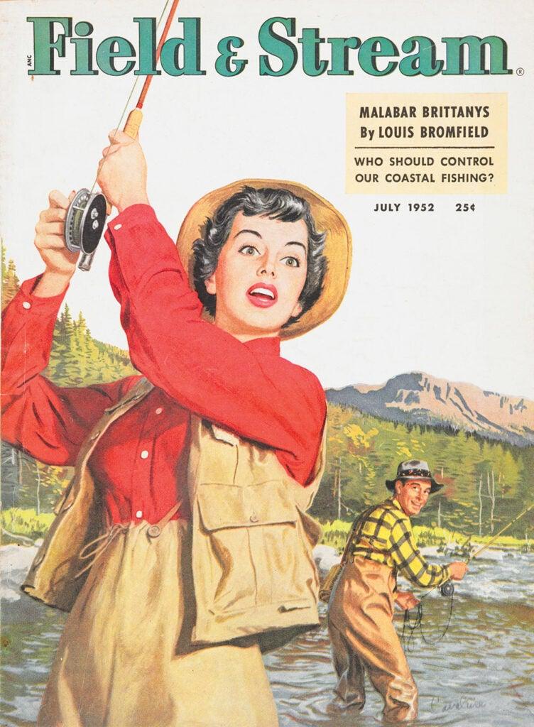 women, cover, vintage, F&S, fishing, surprise, man