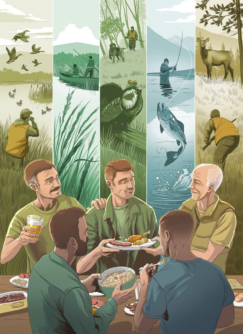 illustration of hunters and fishermen sharing food