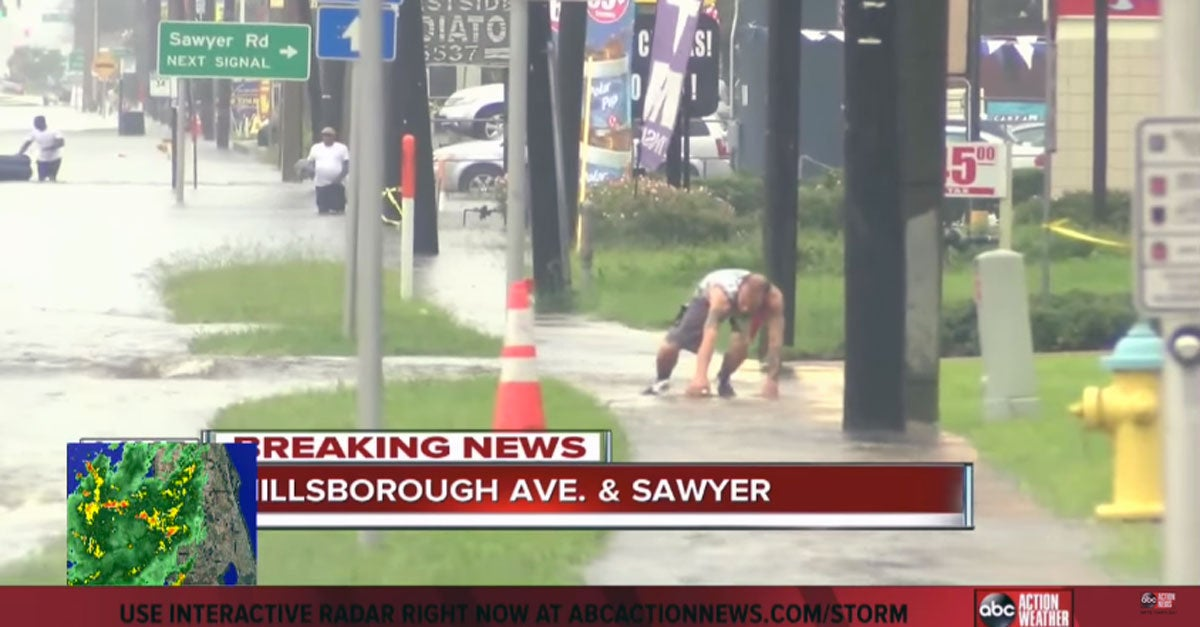 Man Goes Flash-Flood Noodling in the Florida Streets