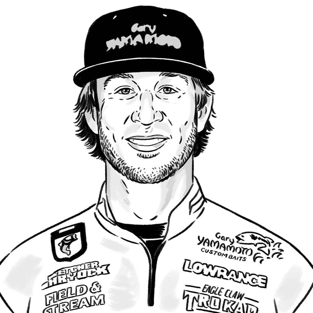 illustration of bass fisher Fletcher Shryock