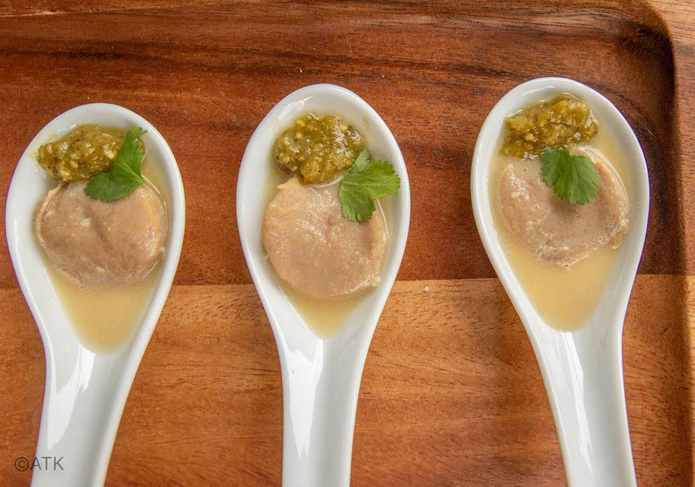butter poached bighorn sheep testicles