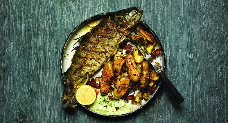 Recipe: Whole Grilled Rainbow Trout with Fingerling Potatoes