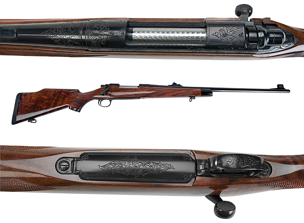 Close up details of engravings on a Remington Model 700.