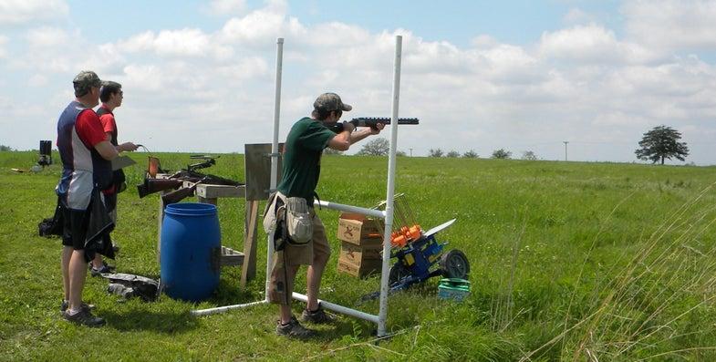 man shooting clays