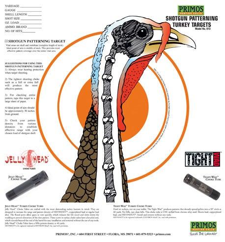 turkey target; paper target; turkey shotgun patterning; primos target