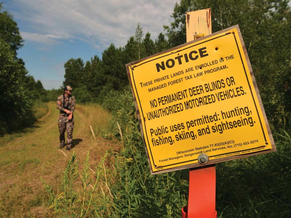 public land hunting warning sign
