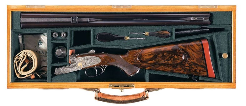 holland and holland double rifle in a case