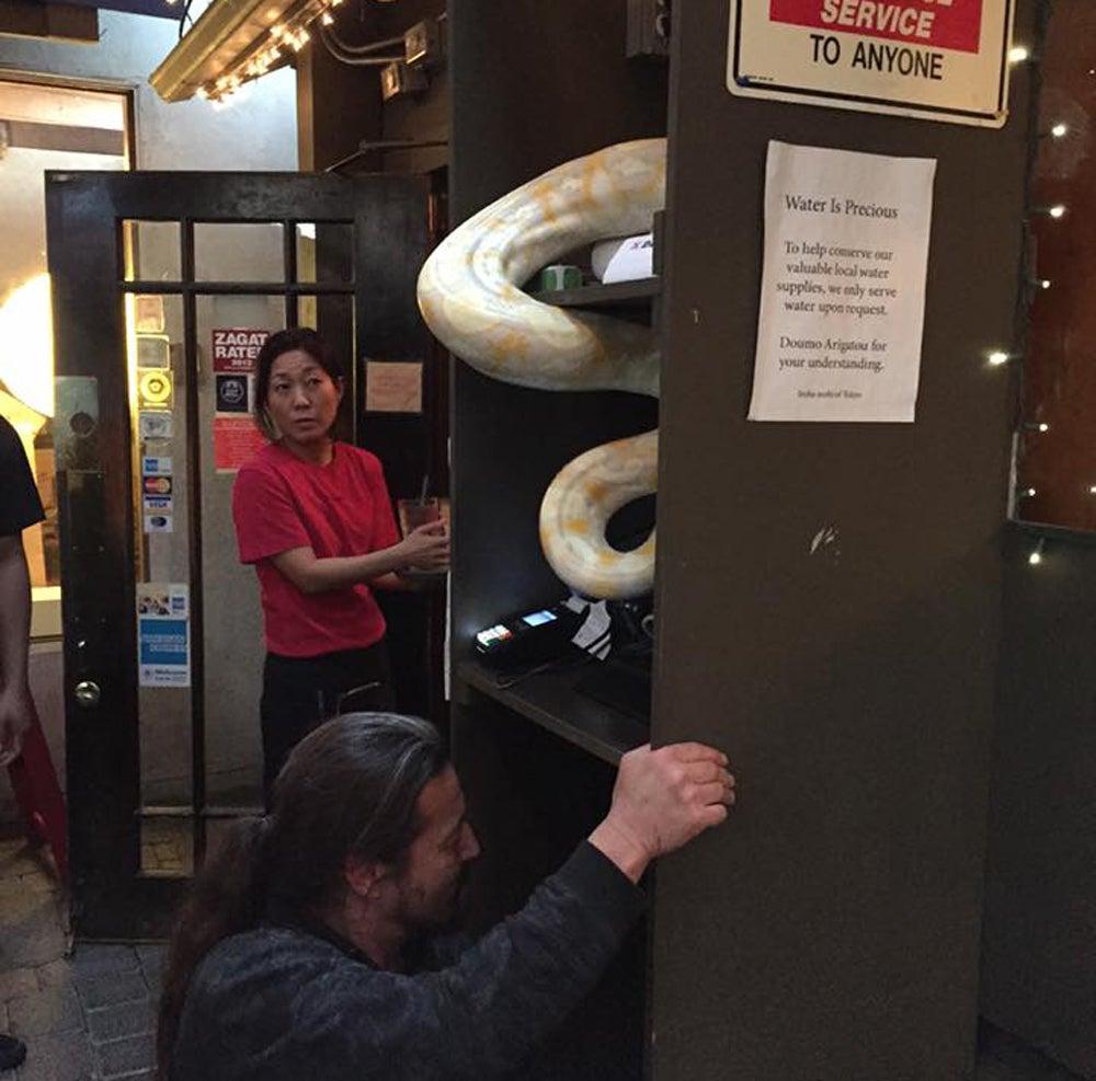 snake in sushi place, man throws snake,