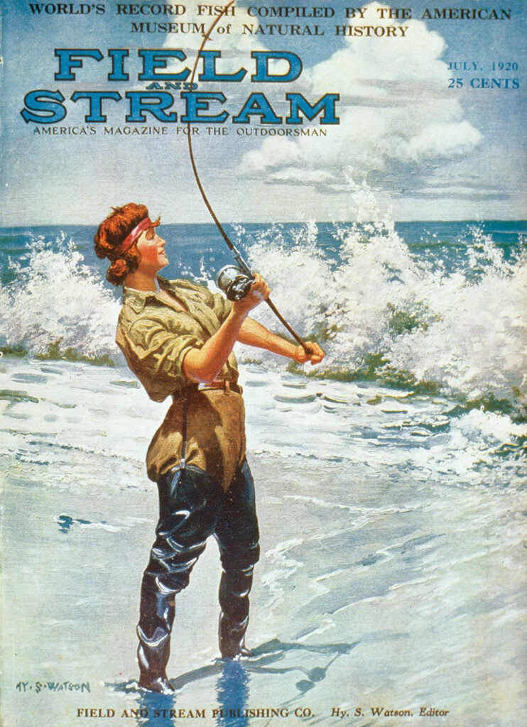 cover, woman, vintage, F&S, fishing, beach