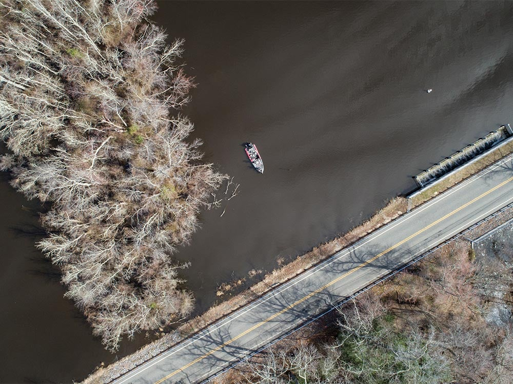 bass boat aerial view
