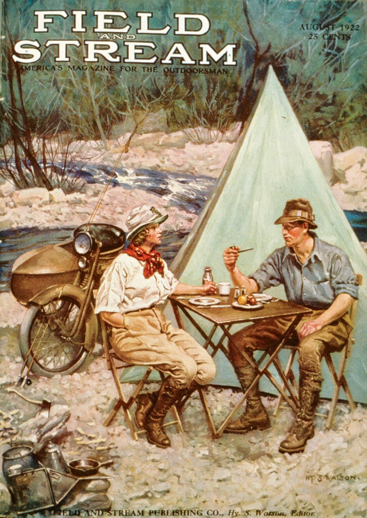 cover, vintage, F&S, woman, camping, tent,