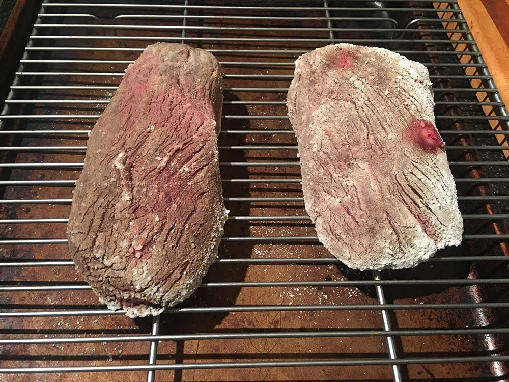 Wild game steaks after one day of koji dry-aging