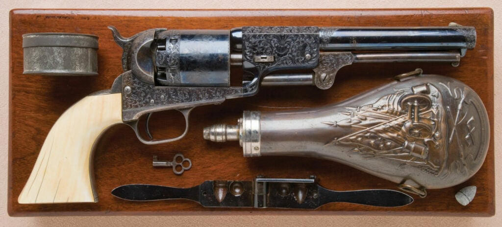 httpswww.fieldandstream.comsitesfieldandstream.comfilesimport2014importImage2011photo38356Historic_Cased_Gustave_Young-Engraved_and_Ivory-Gripped_Colt_Third_Model_Dragoon_Revolver_Inscribed_Colonel_P.M._Milliken_-_1.jpg