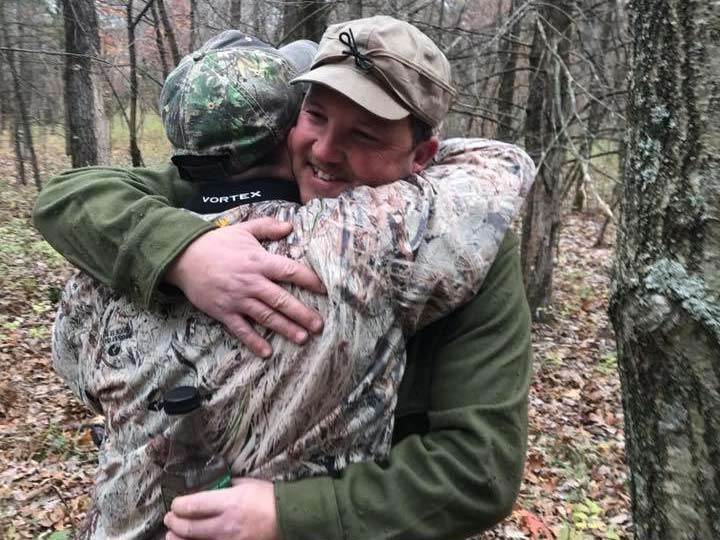 Father and Son successfully tracked whitetail buck.