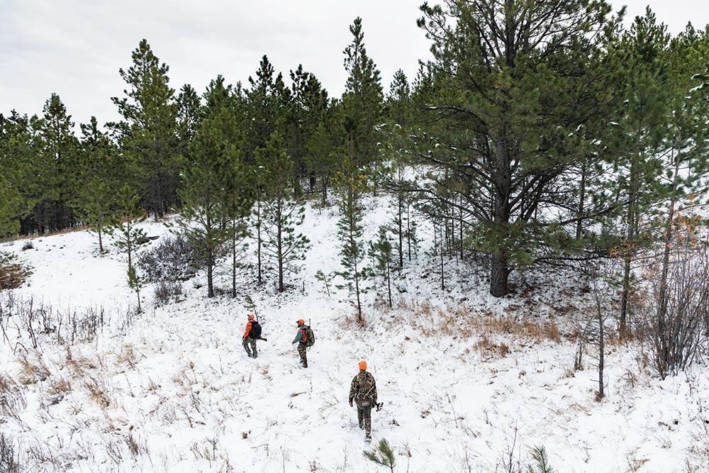 hunting durfee hills in snow