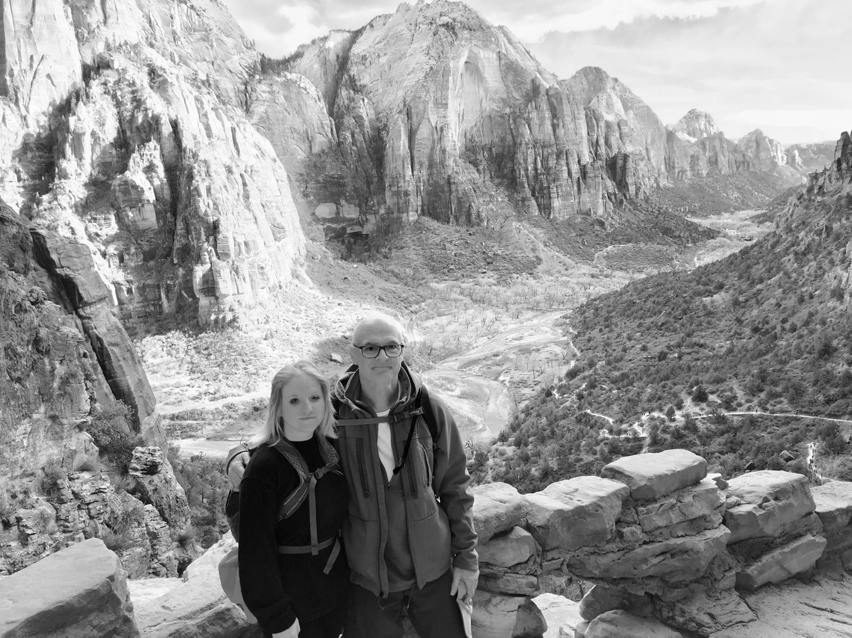 zion national park, angels landing hike, spring break, father daughter