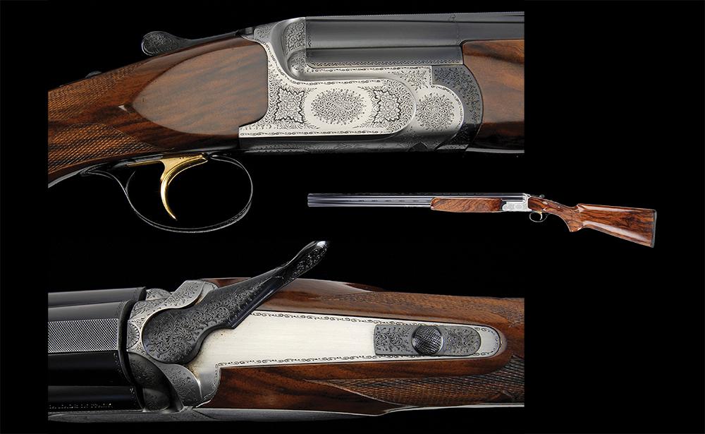 The Perazzi M Series gun details on a black background