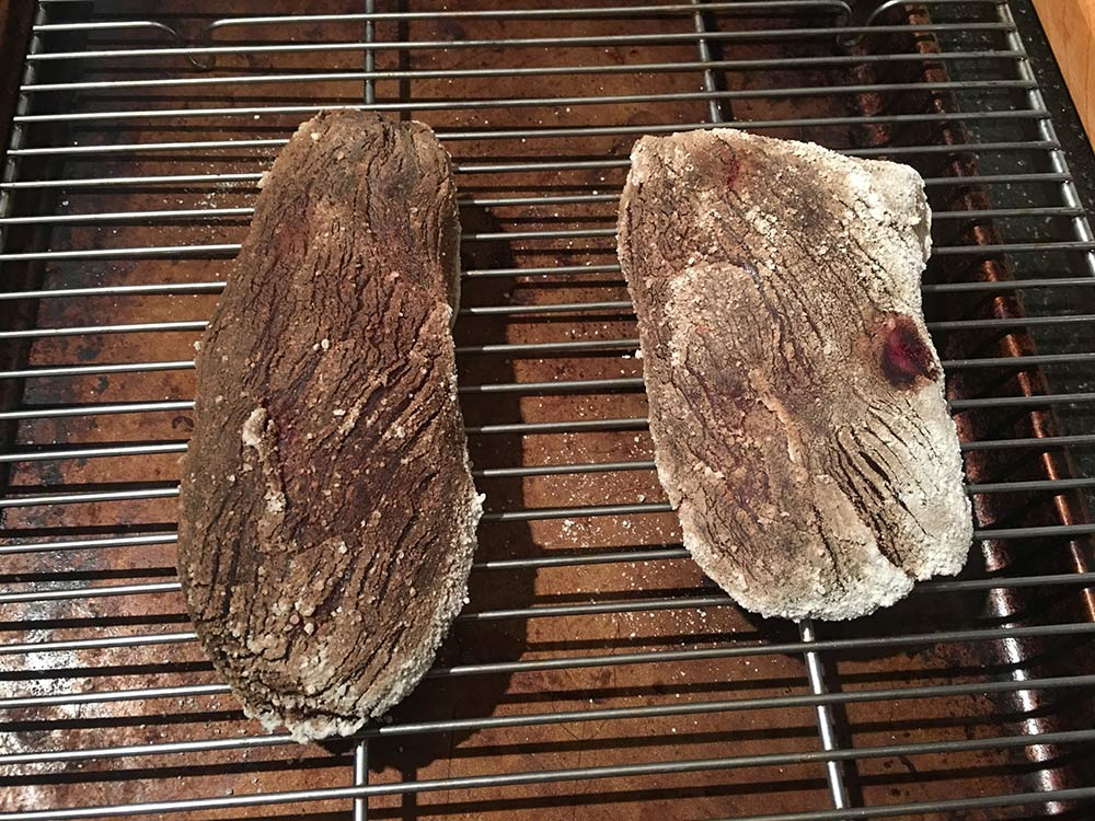 Wild game steaks after three days of koji dry-aging