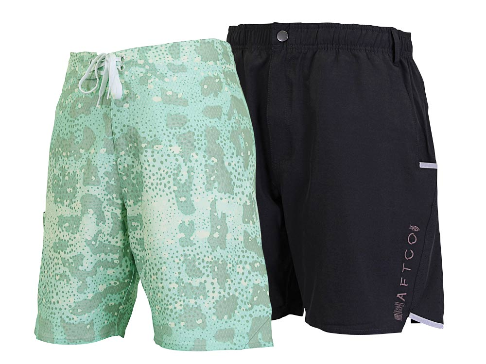 Aftco Grouper Boardshorts and Cyber­fish Hybrid Shorts