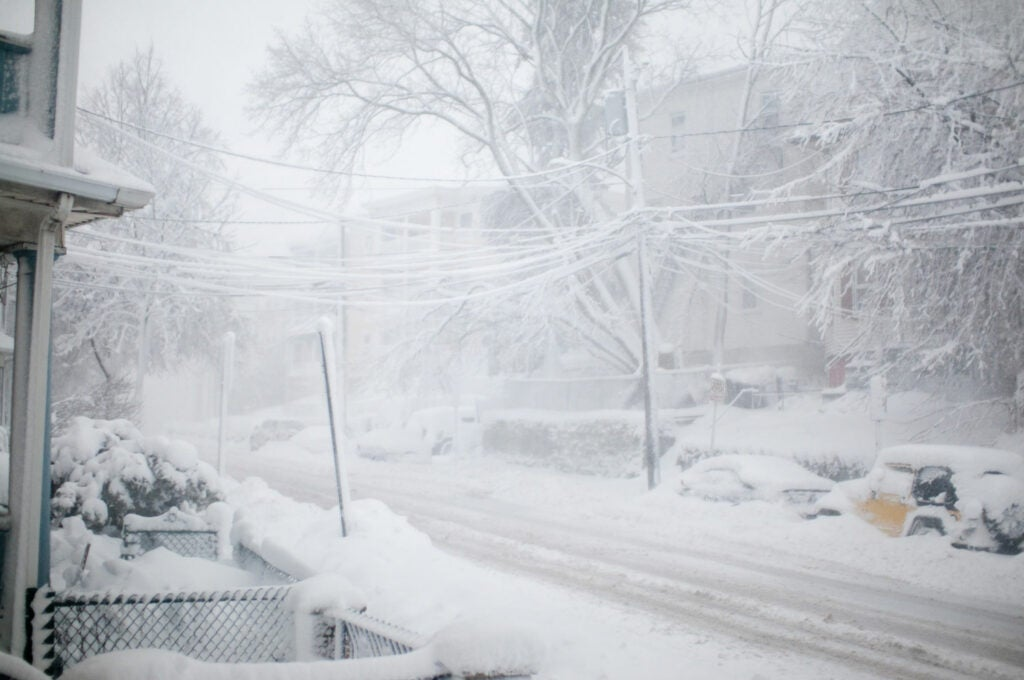 snowstorm, whiteout, main street, eric kilby, somerville, massachusetts