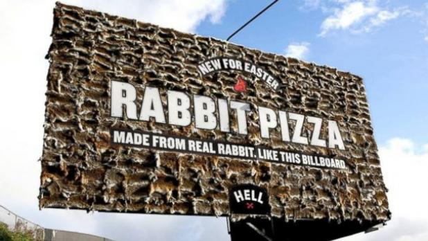 New Zealand Pizza Chain Advertises With Billboard Covered in Real Rabbit Skins