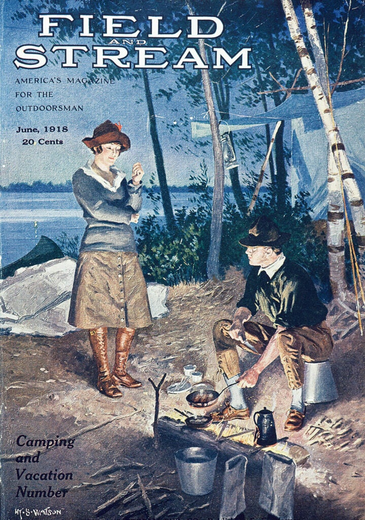 cover, vintage, F&S, woman, camping