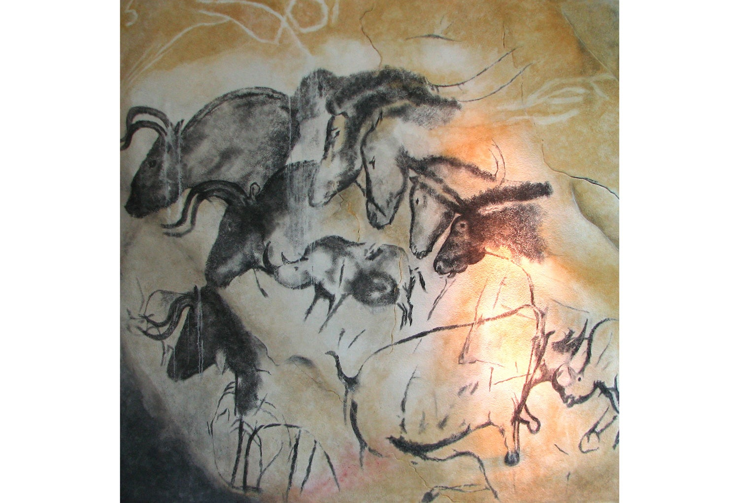 Chauvet Cave, replica painting, wild animals, France, Paleolithic