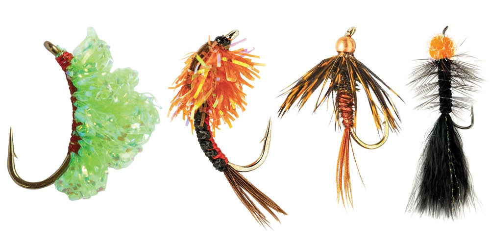 four fly lures for trout