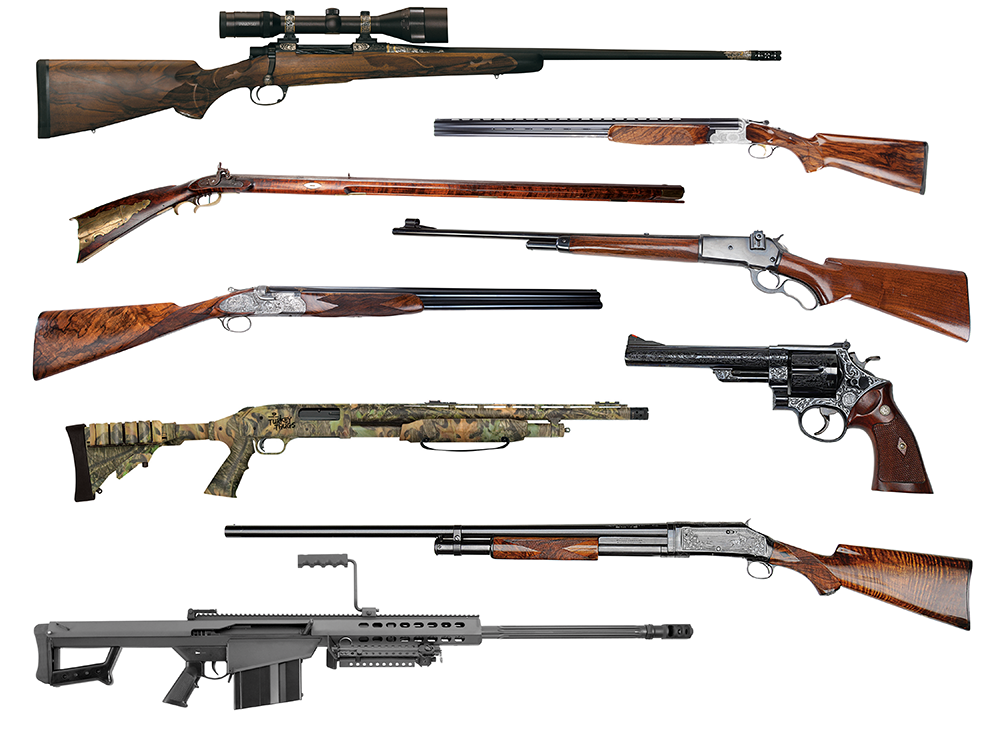 A collection of rifles on a white background.