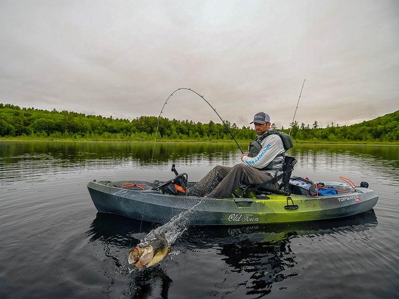 bass fishing in a kayak