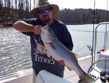 Jim Wiley reeled in this 14-pound striper this spring from Mountain Lake in Moneta, Va.