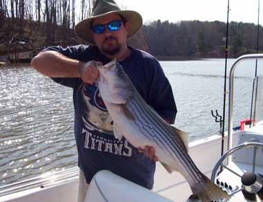 Jim Wiley reeled in this 14-pound striper this spring from Mountain Lake in Moneta, Va.