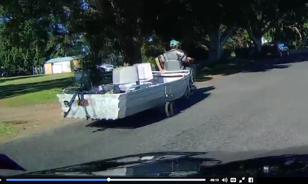 Video: Man Uses Mobility Scooter to Tow Fishing Boat