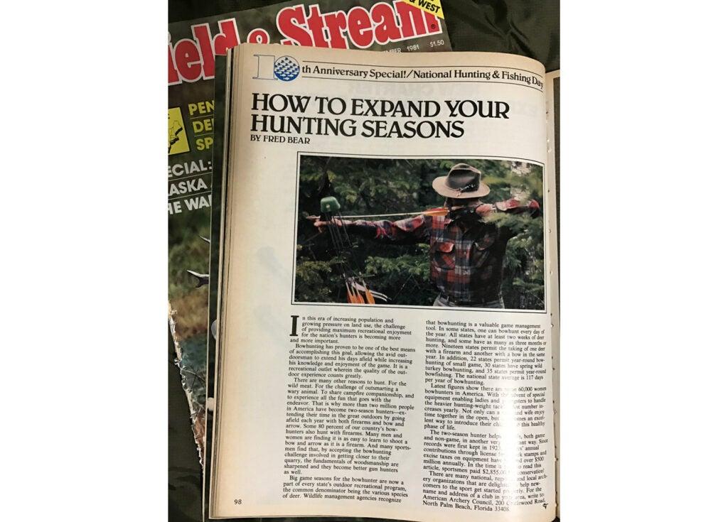 fred bear; field & stream magazine; September 1981