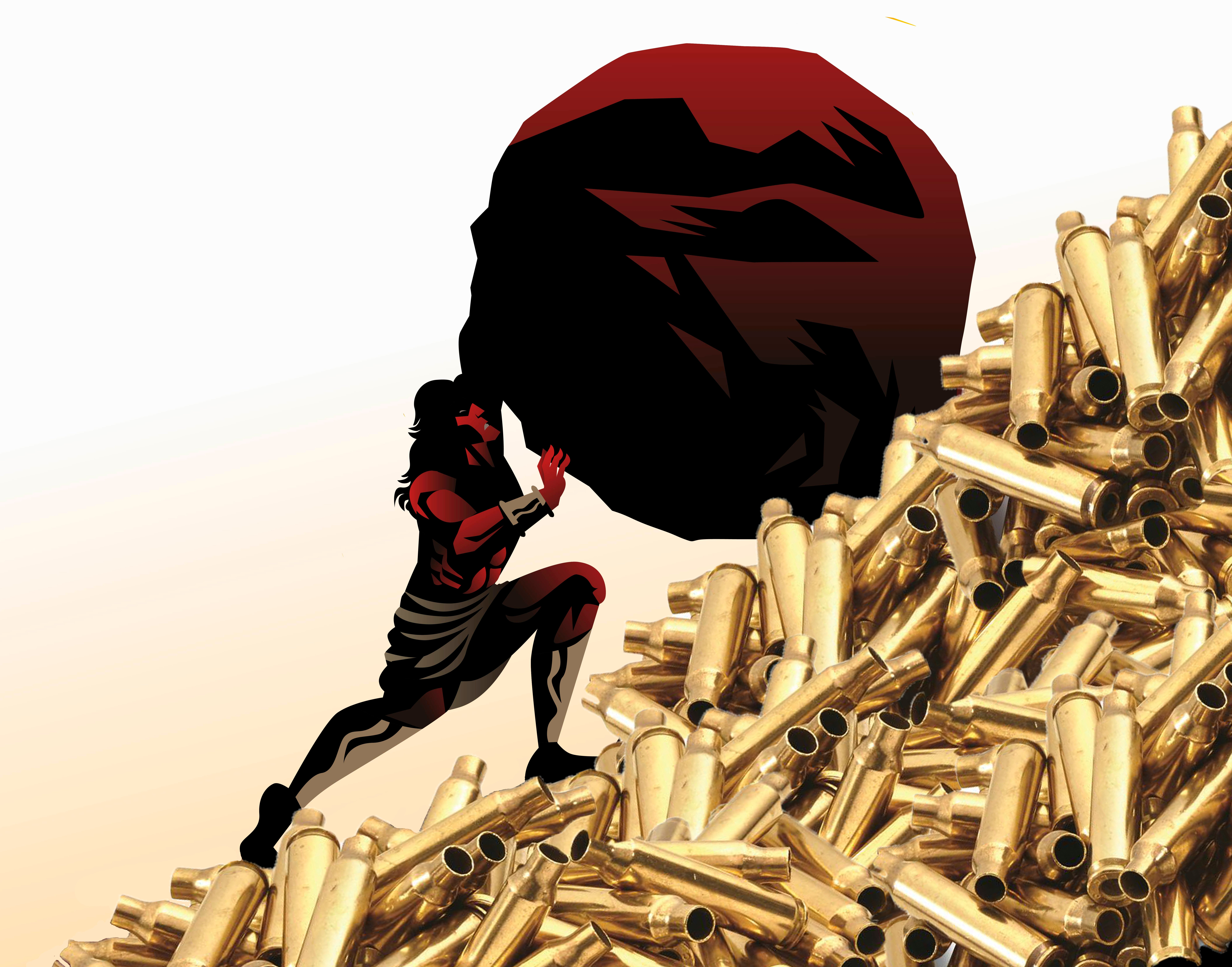 collage of sisyphus pushing a rock up ammo hill