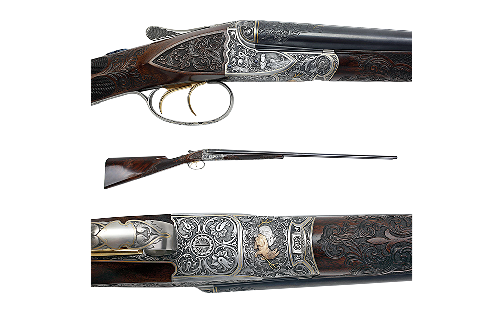 The A.H. Fox rifle on a white background