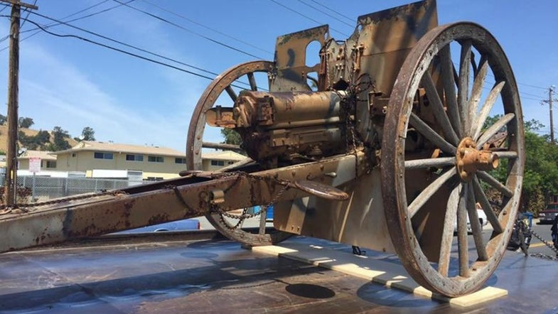 historical cannon, historical artifacts, stolen artifacts, WWI, World War One, robbery