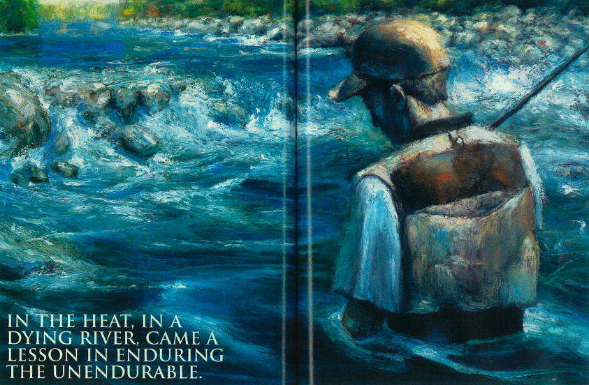Illustration of an angler wading through a running river.