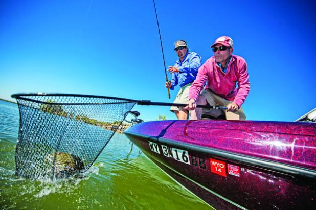 Hit big, shady docks for giant largemouth bass.